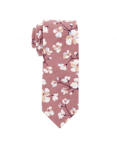 Cravate Vieux rose Fleurs Blanches