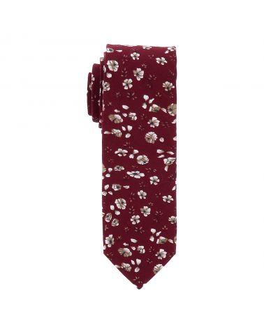 Cravate Fleurie Lie de Vin