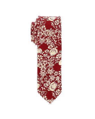 Cravate Fleurs Bordeaux et Crème