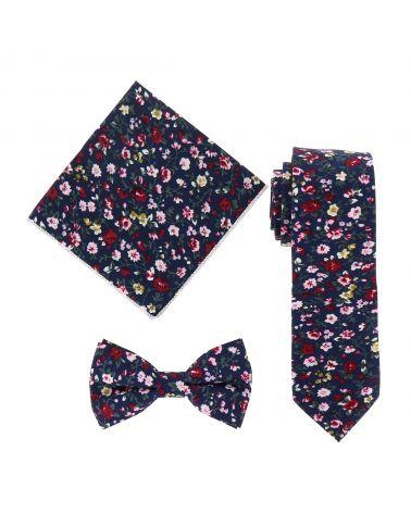 Cravate Liberty Bleu marine Rose et Bordeaux