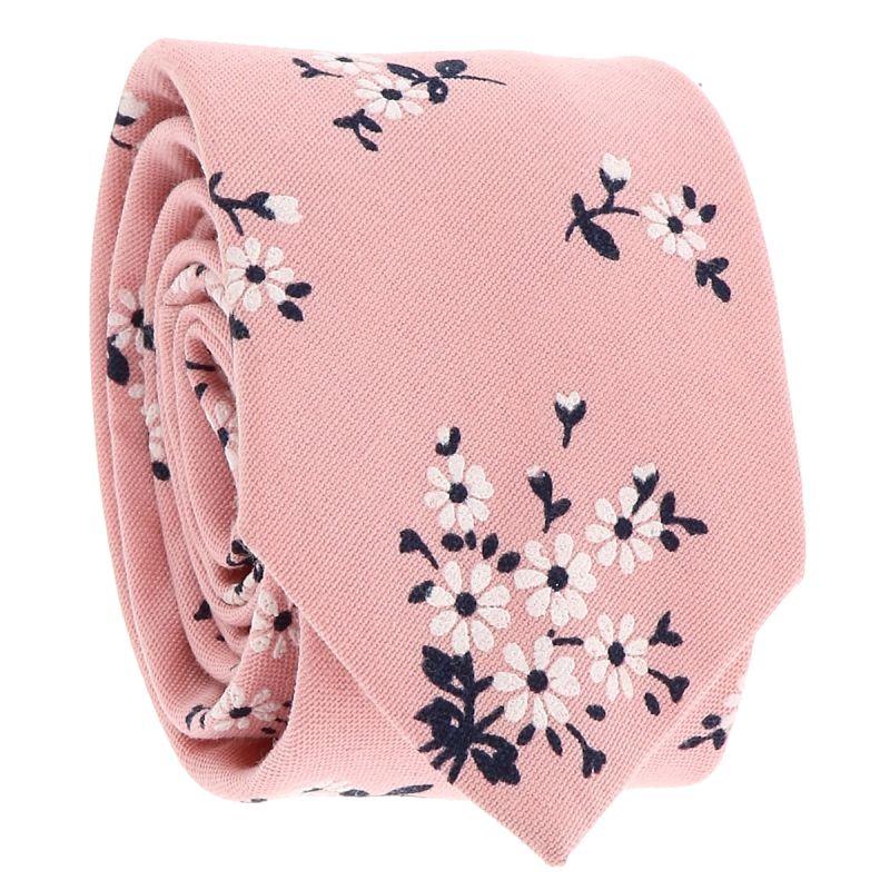 Cravate Fleurs Rose poudré et Blanche