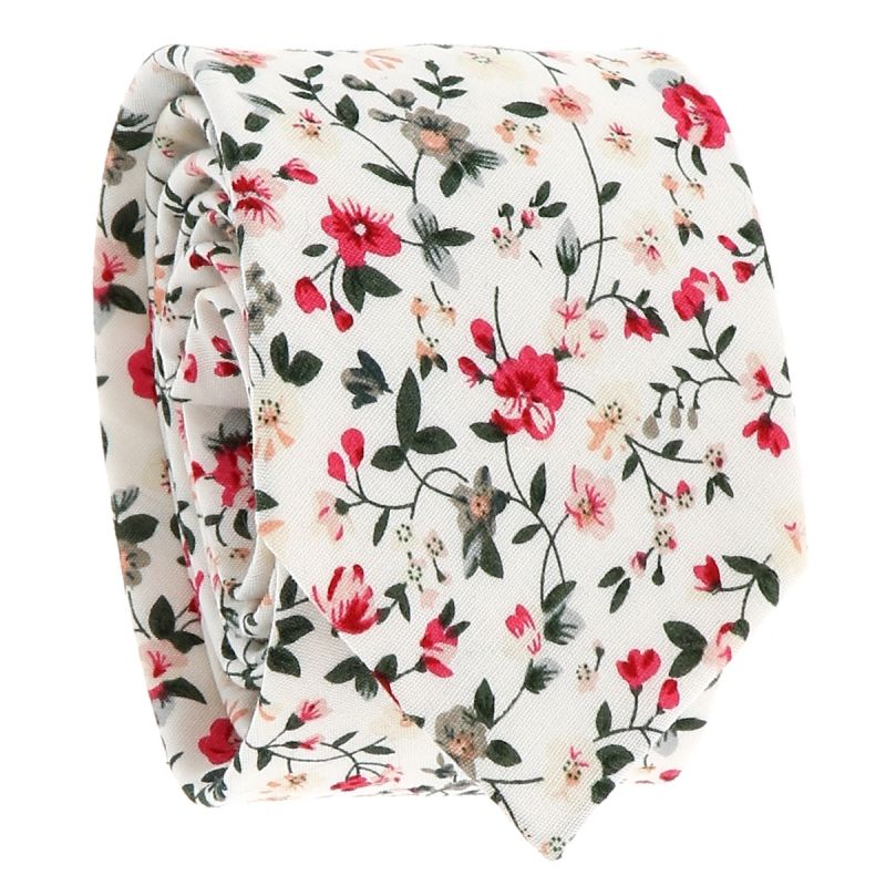 Cravate Liberty Blanche et Rose