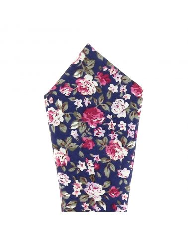 Pochette Costume Fleurs Bleu marine, Rose et Blanche