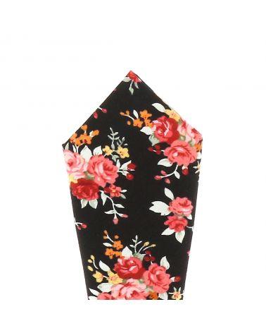 Pochette Costume Fleurs Noire et Corail