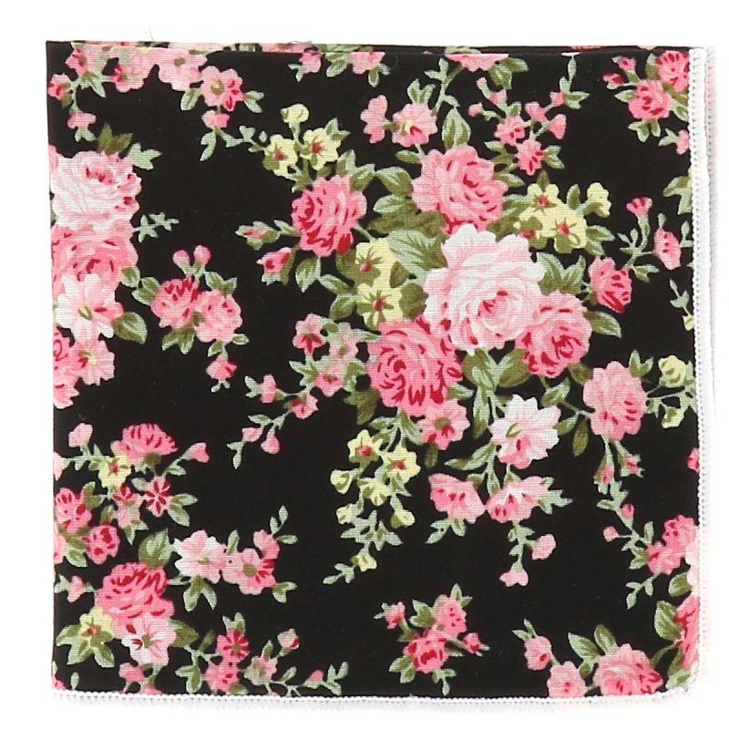Pochette Costume Fleurs Noire et Rose