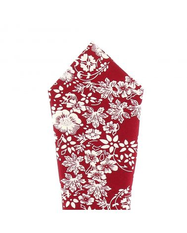 Pochette Costume Fleurs Bordeaux et Crème