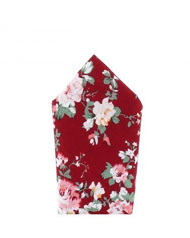 Pochette Costume Fleurs Bordeaux