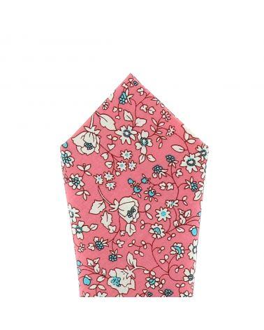 Pochette Costume Fleurie Corail et Crème