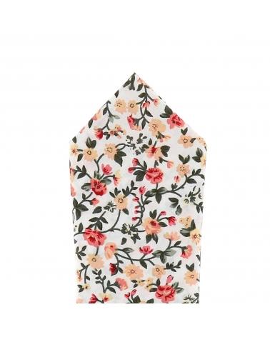 Pochette Costume Liberty Blanche et Rose corail
