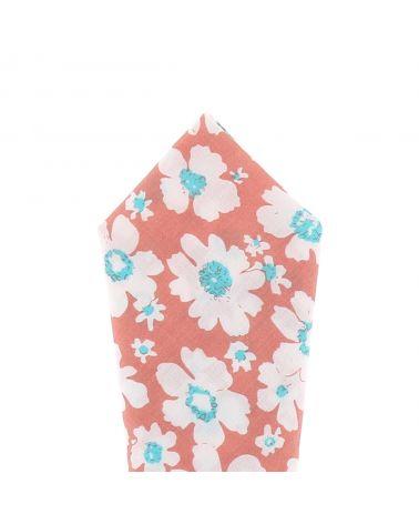 Pochette Costume Corail Fleurs Blanches et Turquoises