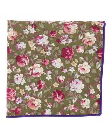 Pochette Costume Fleurs Verte et Rose