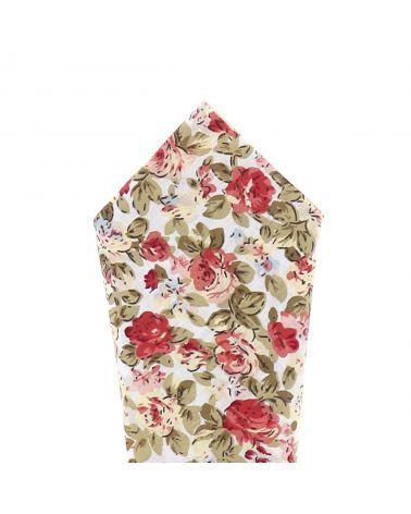 Pochette Costume Fleurs Blanche et Rose
