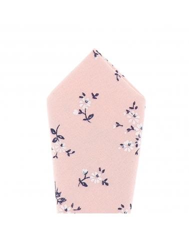 Pochette Costume Fleurs Rose poudré et Blanche