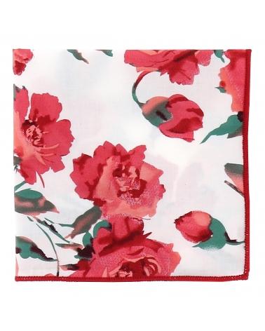 Pochette Costume Blanche Fleurs Corail