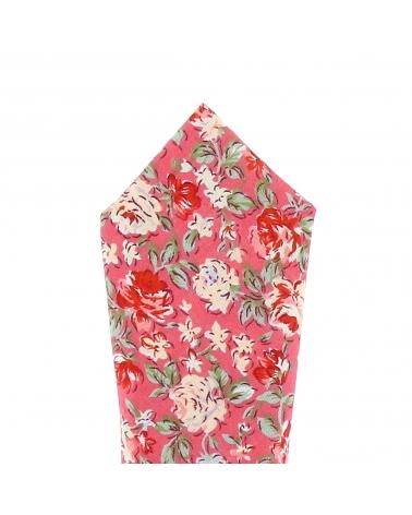 Pochette Costume Fleurie Corail