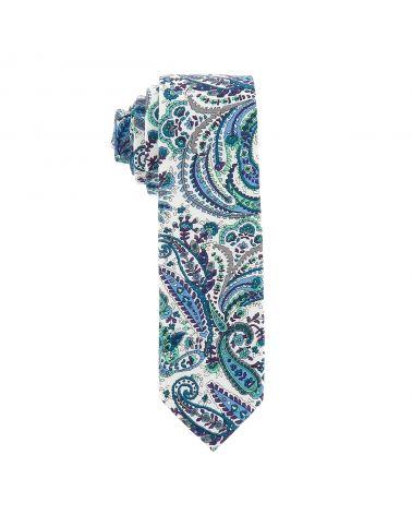 Cravate Paisley Bleu turquoise
