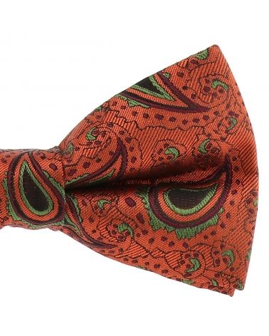 Noeud Papillon Paisley Jacquard Orange rouille