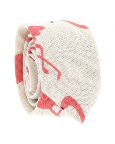 Cravate Coton Blanche Flamant Rose