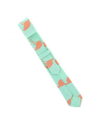 Cravate Coton Vert d'eau Flamant Rose