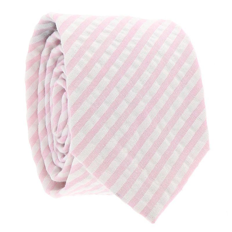 Cravate Coton Rayée Rose et Blanche