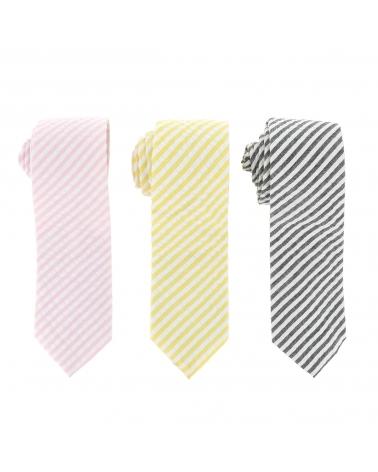 Cravate Coton Rayé Jaune et Blanche