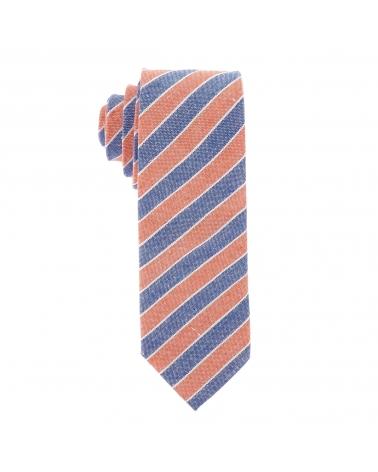 Cravate Coton Denim Rayée Bleu et Orange