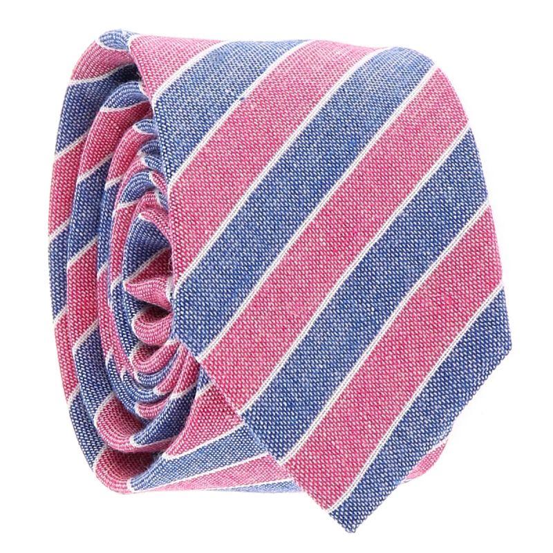 Cravate Coton Denim Rayée Bleu et Rose