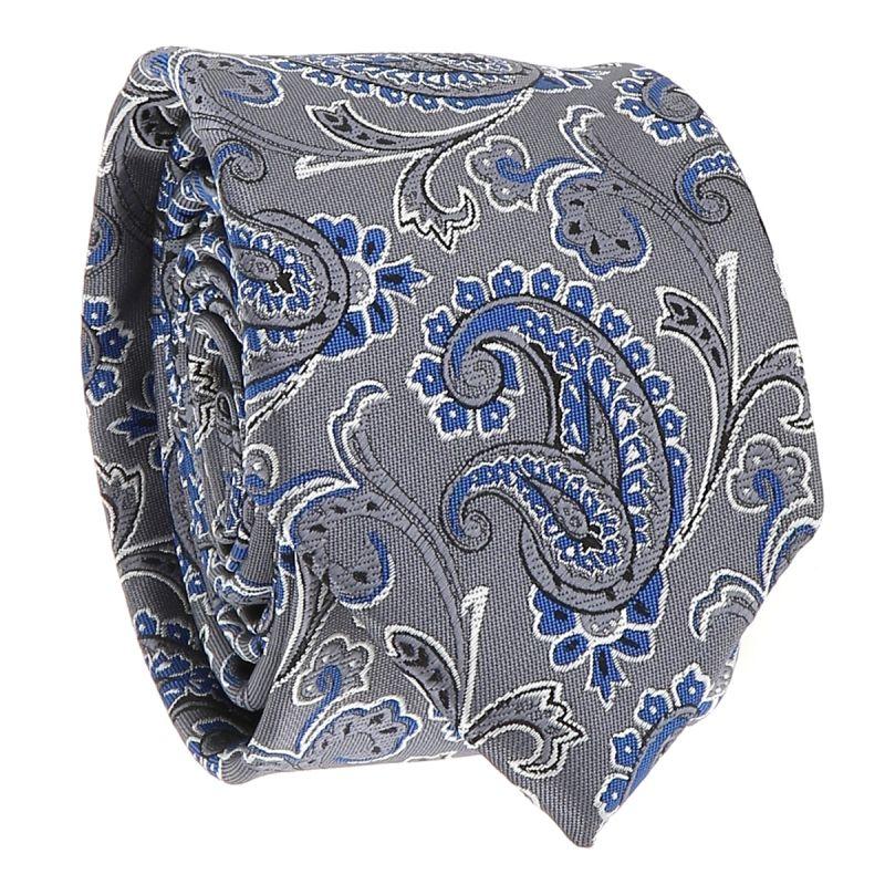 Cravate Paisley Jacquard Grise et Bleue