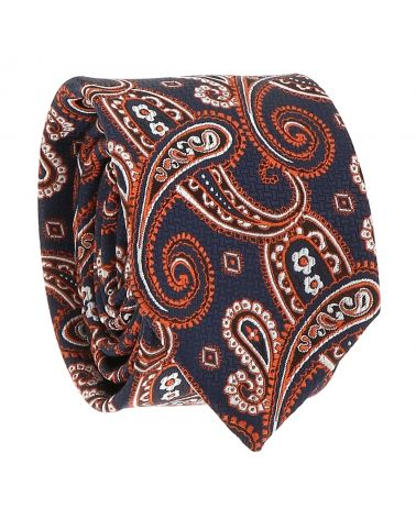 Cravate Paisley Jacquard Grise et Orange