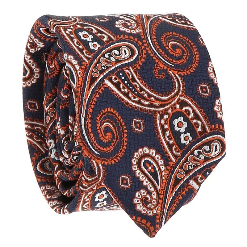 Cravate Paisley Jacquard Grise et Orange