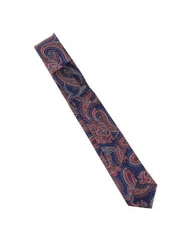 Cravate Paisley Jacquard Bleu marine et Bordeaux