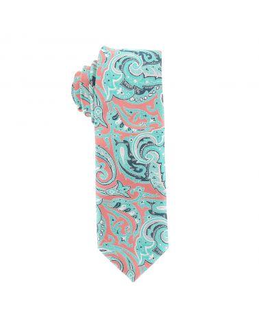 Cravate Paisley Jacquard Corail et Vert d'eau