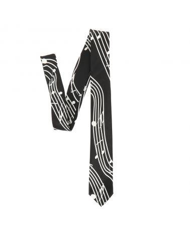 Cravate Musique Noire et Blanche