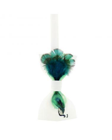 Noeud Papillon Créateur Plume Paon Vert d'eau