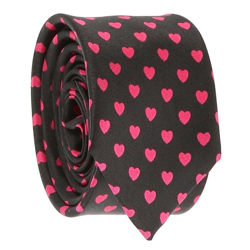 Cravate Coeurs Noire et Rose