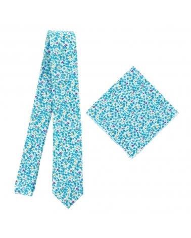 Pochette Costume Liberty Bleu turquoise