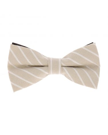 Noeud Papillon Coton Beige Rayures Blanches