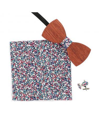 Noeud Papillon Bois Liberty Bleu marine Rose et Blanc