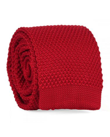 Cravate Tricot Rouge lie de vin