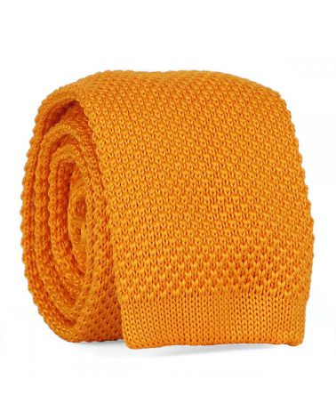 Cravate Tricot Jaune orange