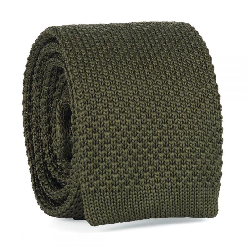 Cravate Tricot Vert kaki