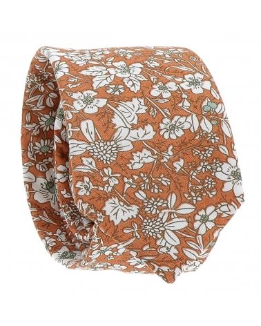 Cravate Liberty Orange et Blanche