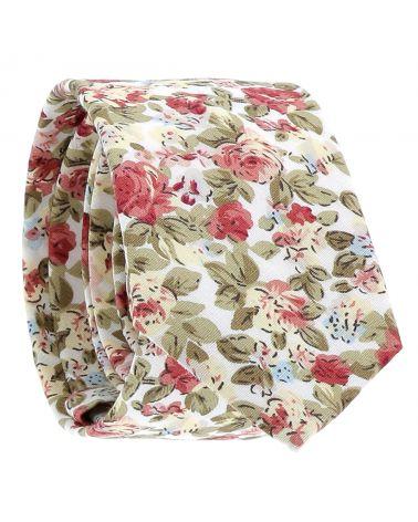 Cravate Fleurs Blanche et Rose