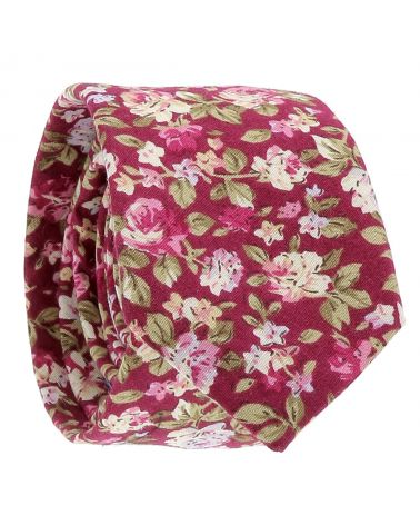 Cravate Fleurs Fushia