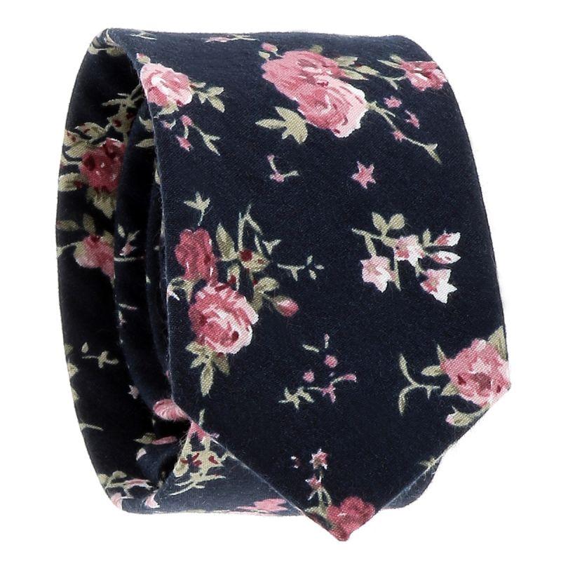 Cravate Fleurs Bleu marine et Fushia