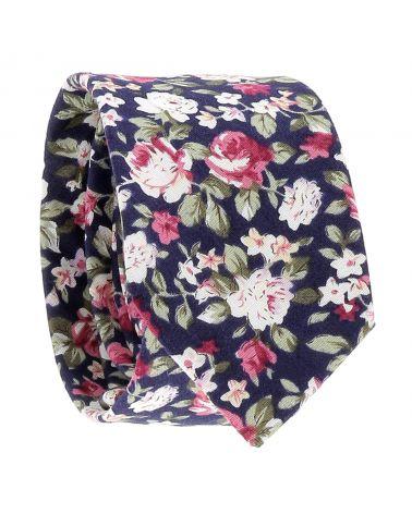 Cravate Fleurs Bleu marine, Rose et Blanche
