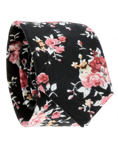 Cravate Fleurs Noire et Rose