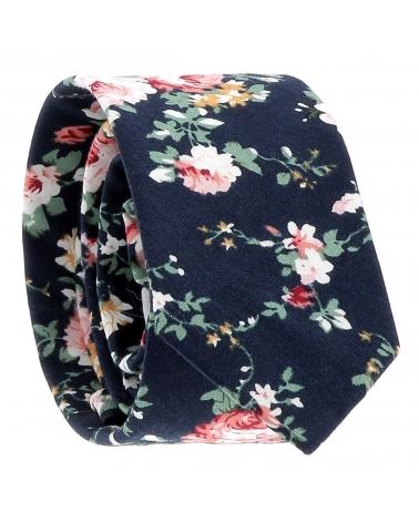 Cravate Fleurs Bleu marine
