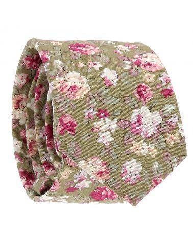 Cravate Fleurs Verte et Rose