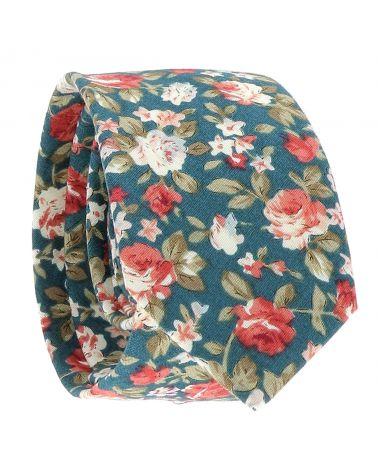 Cravate Fleurs Bleu canard et Rose